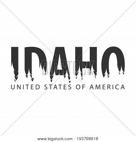 Idaho. Usa. United States Of America. Text Or Labels With Silhouette Of Forest.