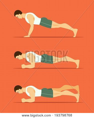 Sports man performs an exercise plank in different poses. Healthy lifestyle