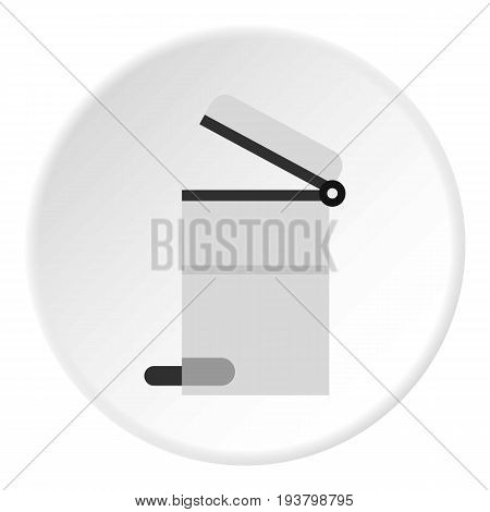 Steel trashcan icon in flat circle isolated vector illustration for web