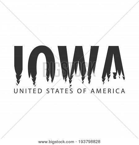 Iowa. Usa. United States Of America. Text Or Labels With Silhouette Of Forest.