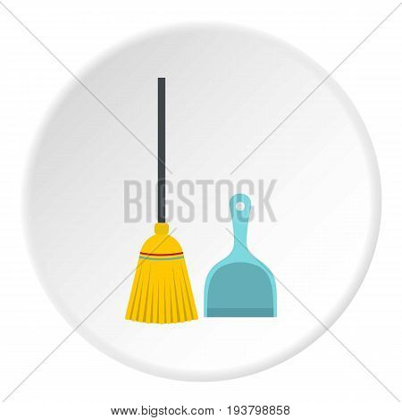 Broom and dustpan icon in flat circle isolated vector illustration for web