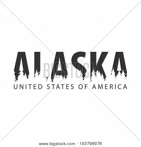 Alaska. Usa. United States Of America. Text Or Labels With Silhouette Of Forest.
