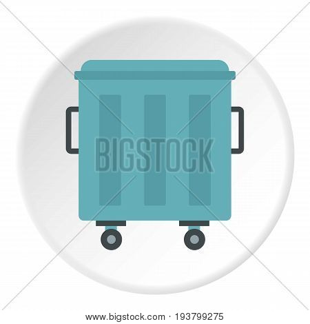 Metal trashcan icon in flat circle isolated vector illustration for web