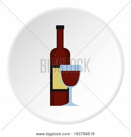 Glass of red wine and a bottle icon in flat circle isolated vector illustration for web
