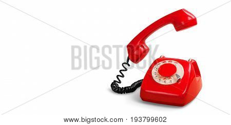 Red retro phone telephone call center contact us mint green
