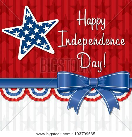 Happy Independence Day greeting card with stars and ribbon