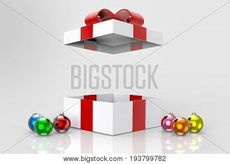 3d illustration. opened present gift box and christmas ball on the floor. can put any message between the box