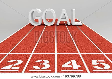 3d illustration. GOAL word letter on the running track. the challenge way to succes concept