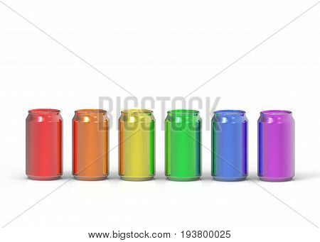 3d illustration. colorful can group on white background. LGBTQ or LGBT color concept