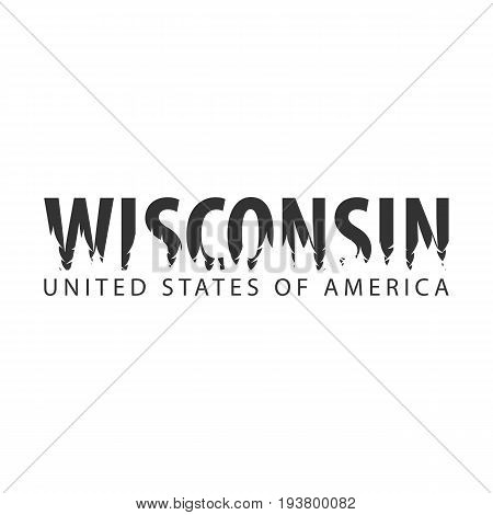 Wisconsin. Usa. United States Of America. Text Or Labels With Silhouette Of Forest.