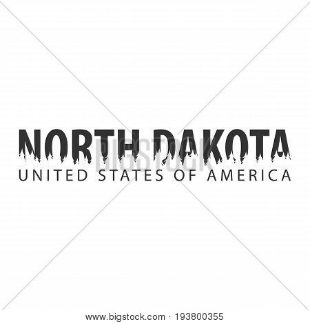 North Dakota. Usa. United States Of America. Text Or Labels With Silhouette Of Forest.