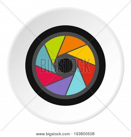 Small objective icon in flat circle isolated vector illustration for web