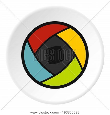 Semi-closed lens icon in flat circle isolated vector illustration for web