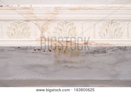 Wall paint that peels off and fades off due to moisture problems in wallcovering, needs repaired and repainted. Ruined by mold fungus and mildew plastering plaster ceiling