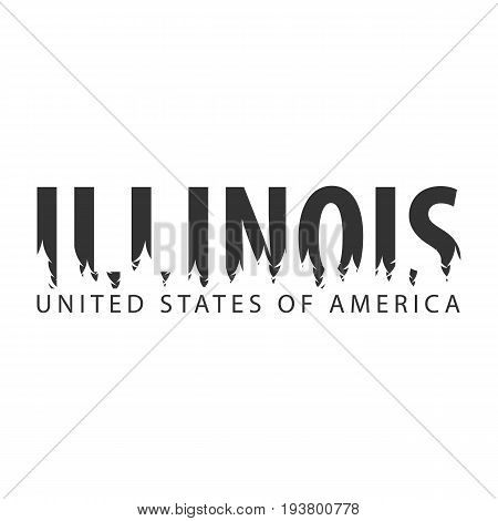 Illinois. Usa. United States Of America. Text Or Labels With Silhouette Of Forest.