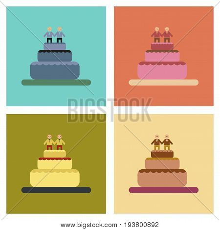 assembly of flat icons gays wedding cake