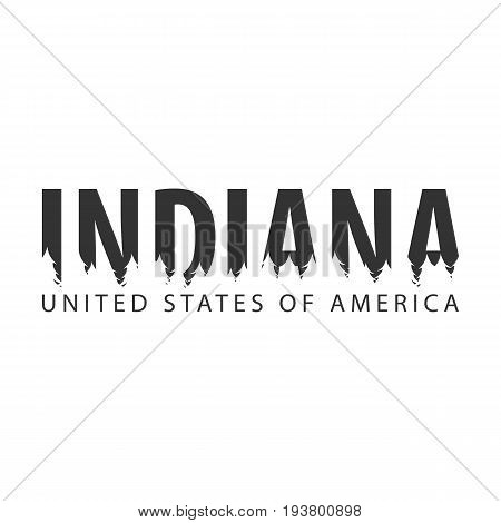 Indiana. Usa. United States Of America. Text Or Labels With Silhouette Of Forest.