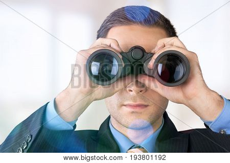 Business man businessman handsome binocular young adult man face