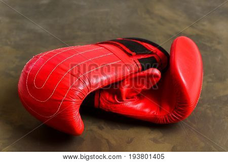 Pair Of Leather Boxing Sportswear. Training And Fitness Concept