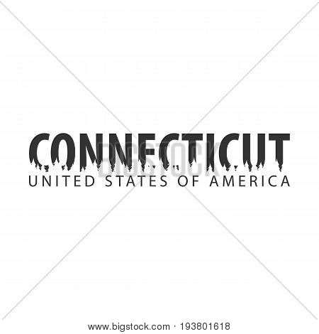 Connecticut. Usa. United States Of America. Text Or Labels With Silhouette Of Forest.