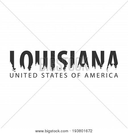 Louisiana. Usa. United States Of America. Text Or Labels With Silhouette Of Forest.