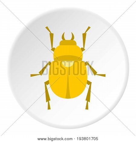 Gold scarab beetle icon in flat circle isolated vector illustration for web