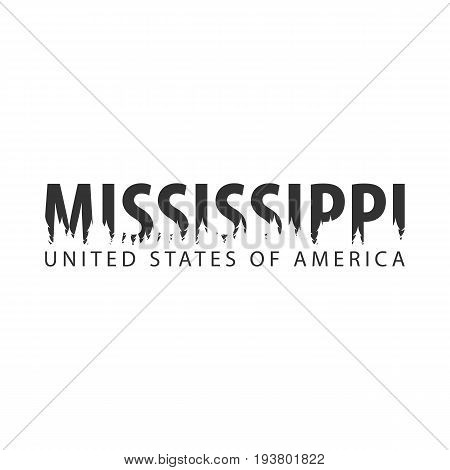 Mississippi. Usa. United States Of America. Text Or Labels With Silhouette Of Forest.