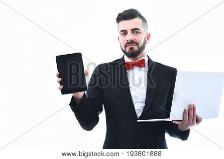 Happy Businessman Or Executive Director With Beard And Smile