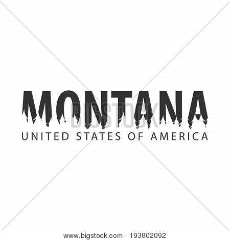 Montana. Usa. United States Of America. Text Or Labels With Silhouette Of Forest.