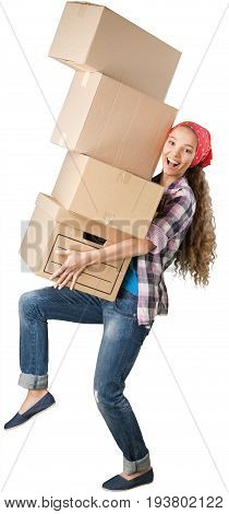 New house moving woman one person picking up physical activity