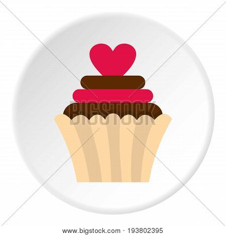 Valentine cupcake icon in flat circle isolated vector illustration for web