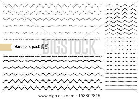 Vector Big Set Of Graphic Design Elements Variation Wide Wavy Line. Wavy - Curvy And Zigzag - Criss