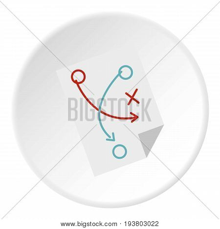 Soccer tactic paper icon in flat circle isolated vector illustration for web