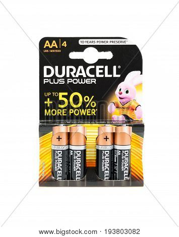 WREXHAM UK - MARCH 31 2017: Pack of four Duracell Plus Power AA batteries with up to 50% more power. On a white background.