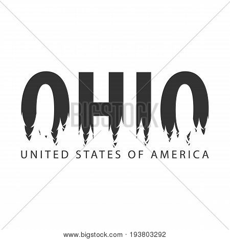 Ohio. Usa. United States Of America. Text Or Labels With Silhouette Of Forest.