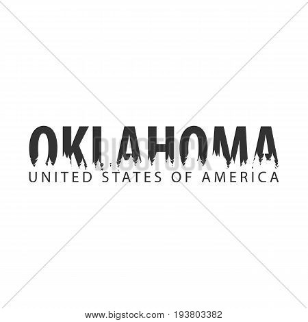 Oklahoma. Usa. United States Of America. Text Or Labels With Silhouette Of Forest.