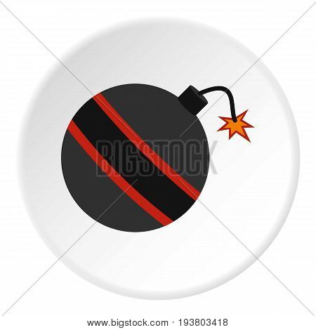 Bomb ready to explode icon in flat circle isolated vector illustration for web