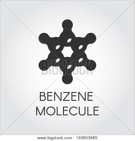 Structural chemical model of benzene molecule. Organic chemical compound C6H6. Aromatic hydrocarbon black flat logo. Vector icon