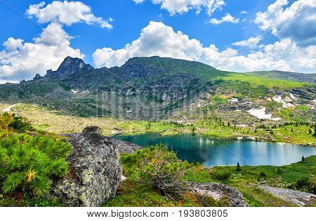 Carous Lake In Mountains Of Southern Siberia