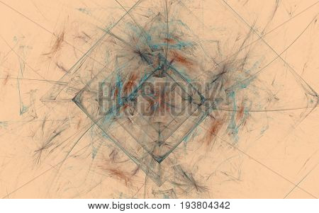 Abstract image of beige background with geometric figures in the form of squares and lines of various colors