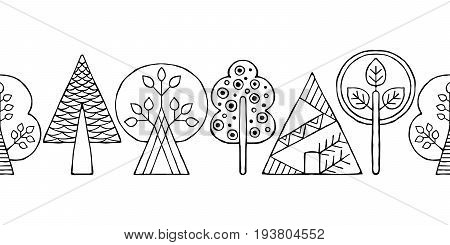 Vector Hand Drawn Seamless Border, Pattern, Decorative Stylized Black And White Childish Trees. Dood