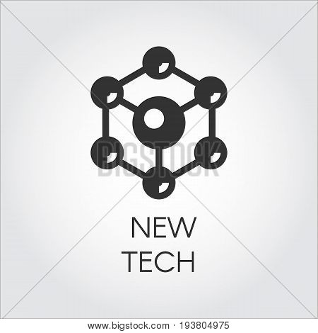 Black icon in flat style of spherical particles. Connection molecular structure label. Logo of new tech concept. Vector illustration
