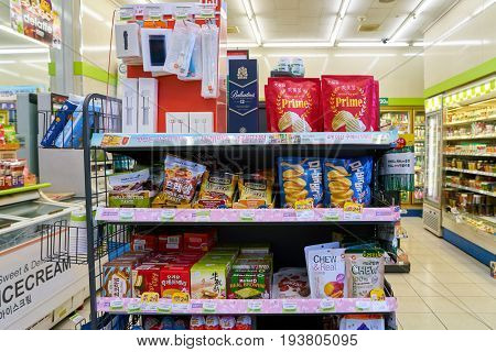 SEOUL, SOUTH KOREA - CIRCA MAY, 2017: goods on display at a CU convenience store. CU is a convenience store franchise chain in South Korea.