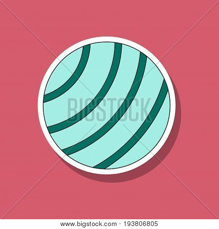 paper sticker on stylish background Fitball fitness