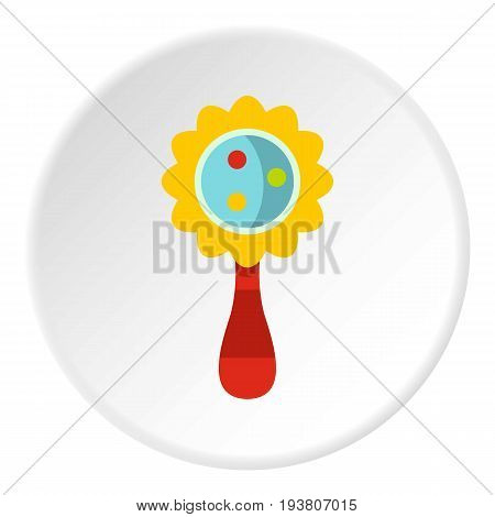 Colorful baby rattle icon in flat circle isolated vector illustration for web