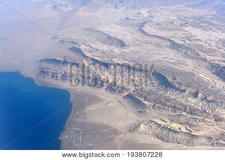 Beautiful Landscape With Barren Terrain Desert And Coastline