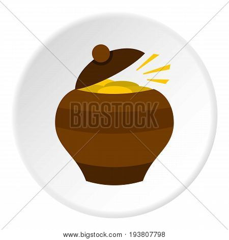 Clay pot full of gold coins icon in flat circle isolated vector illustration for web