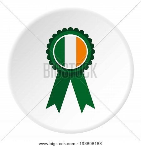 St Patrick day rosette icon in flat circle isolated vector illustration for web