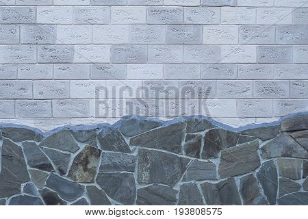 Decorative Brick Wall And Stone Foundation