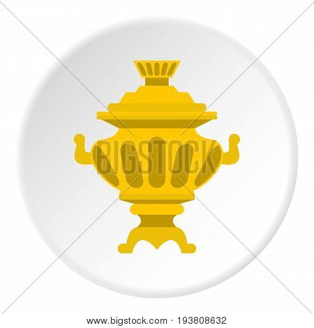 Samovar icon in flat circle isolated vector illustration for web